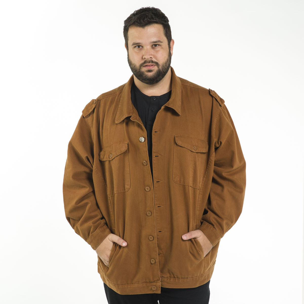 Jaqueta Sarja Plus Size Masculina Color Lisa