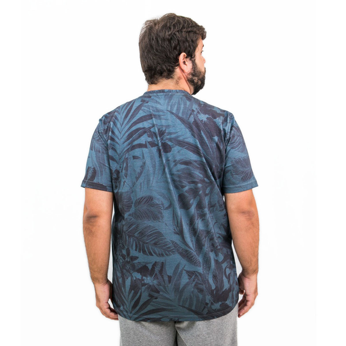 Camiseta Plus Size Masculina Blue Flower