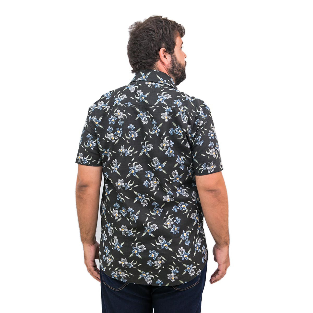 Camisa Plus Size Masculina Flower Black