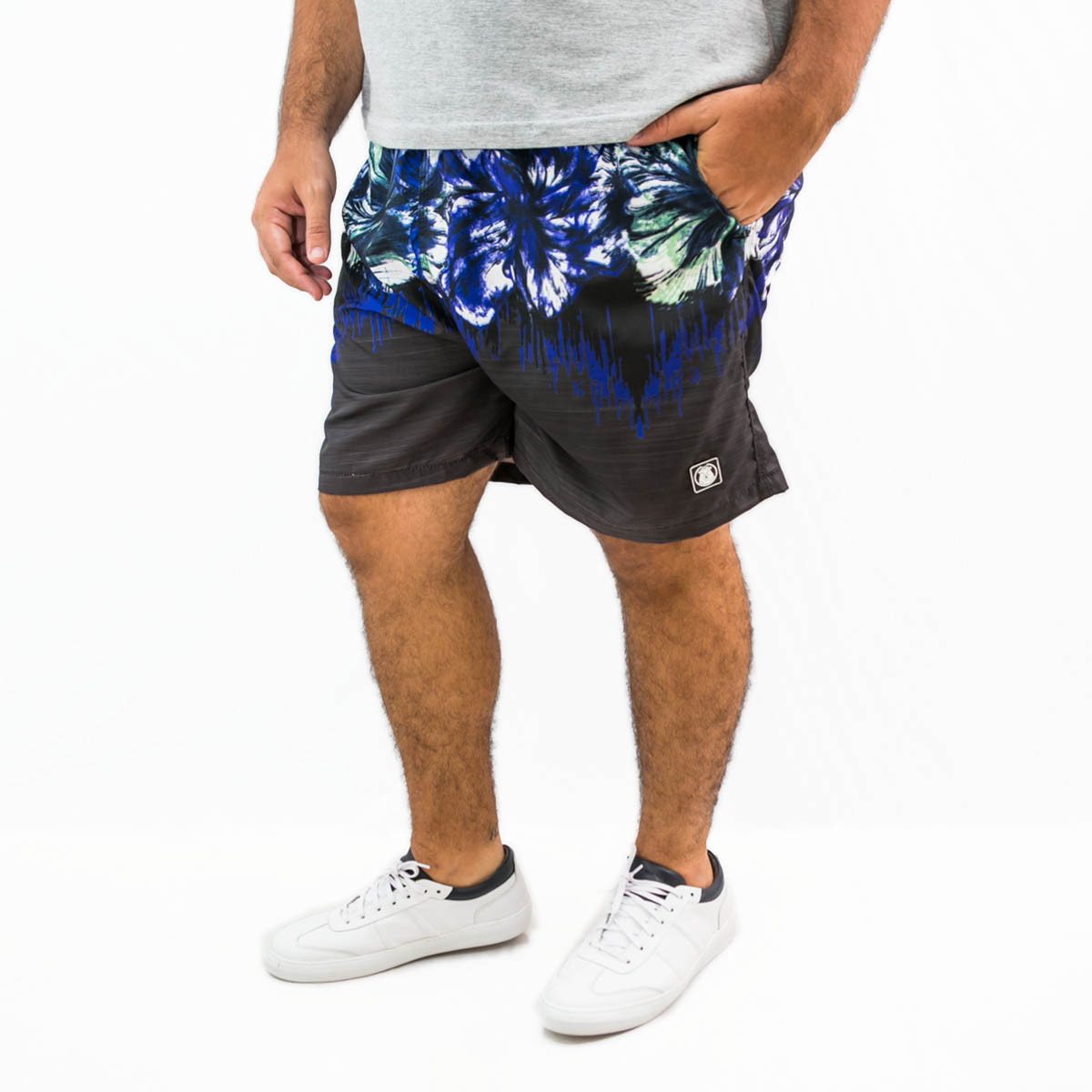 Short Microfibra Plus Size Masculino Blue Flower