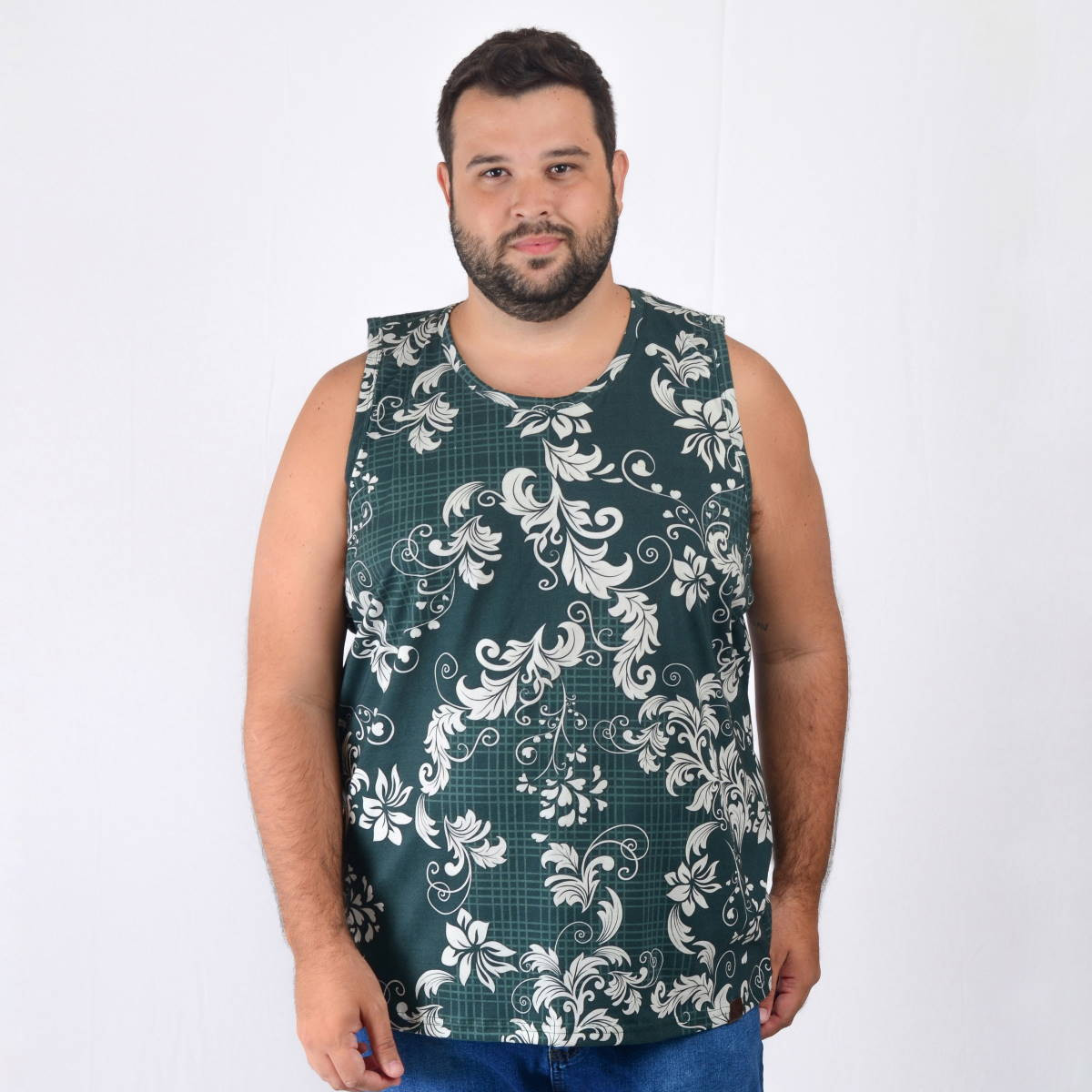 Regata Plus Size Masculina White Flower