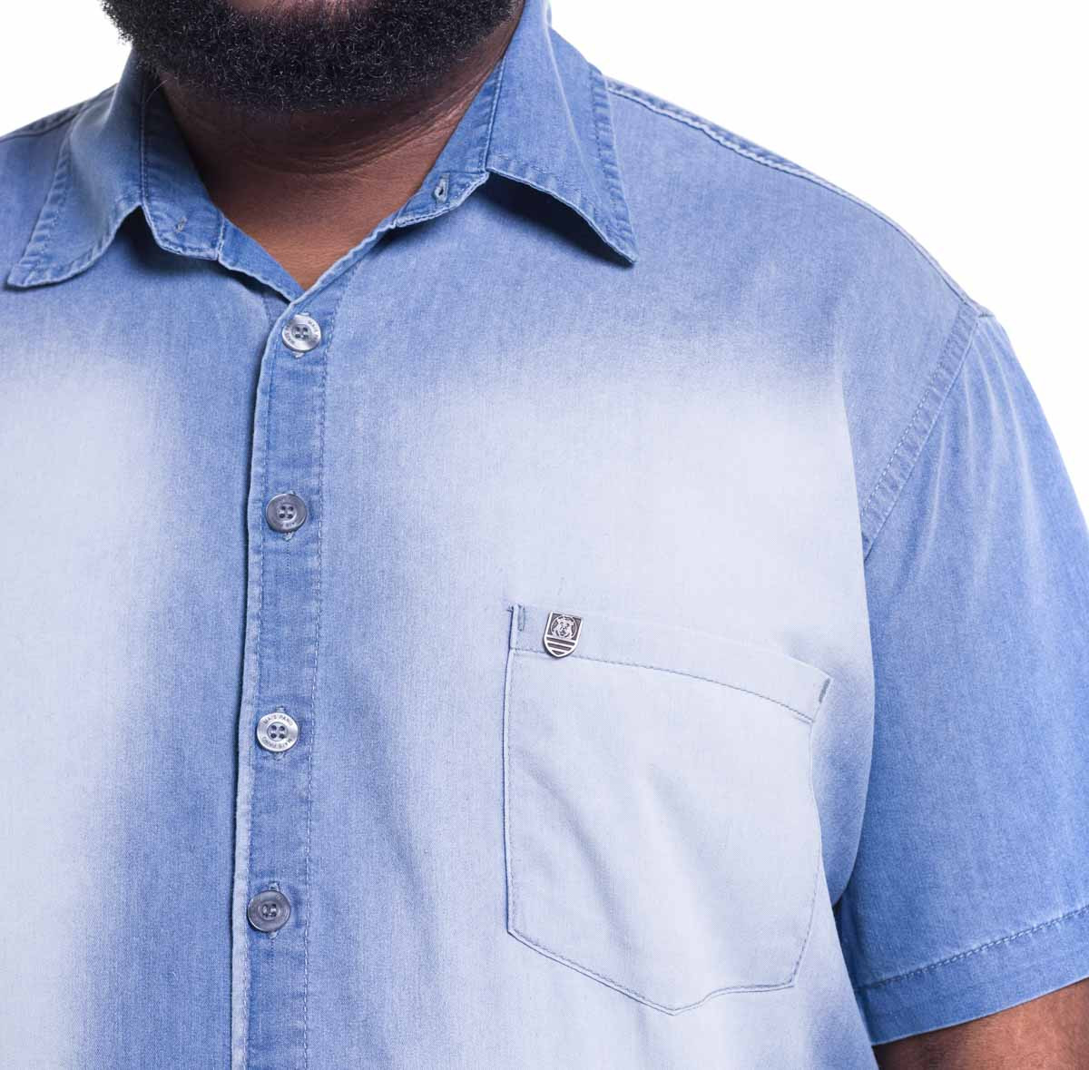 Camisa Plus Size Masculina Blue Destroyed