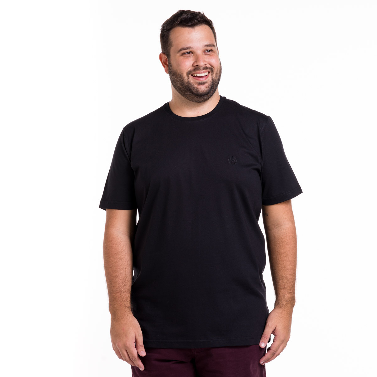 Camiseta Plus Size Masculina Lisa com Bordado