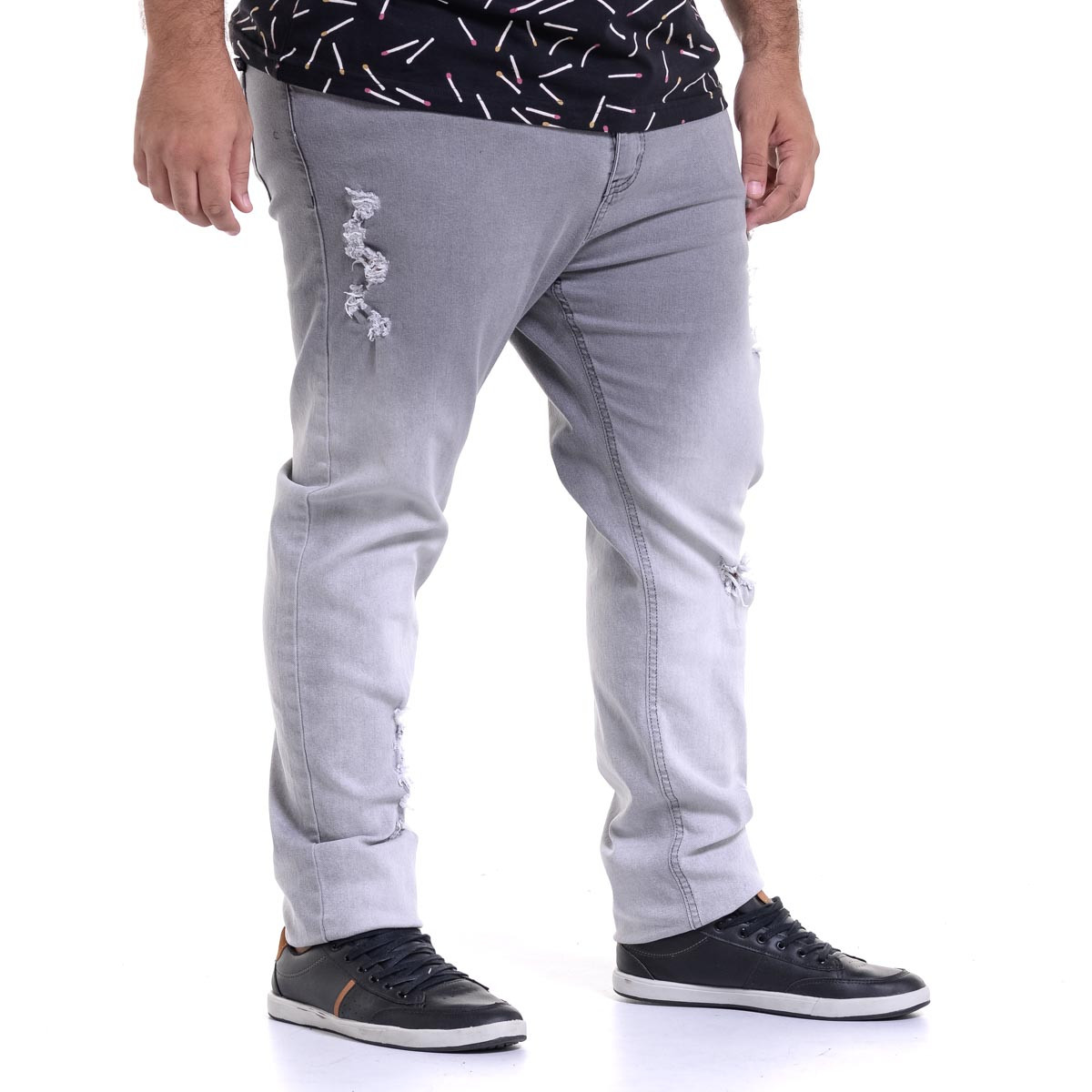 Calça Jeans Plus Size Masculina Destroyed Degrade Black