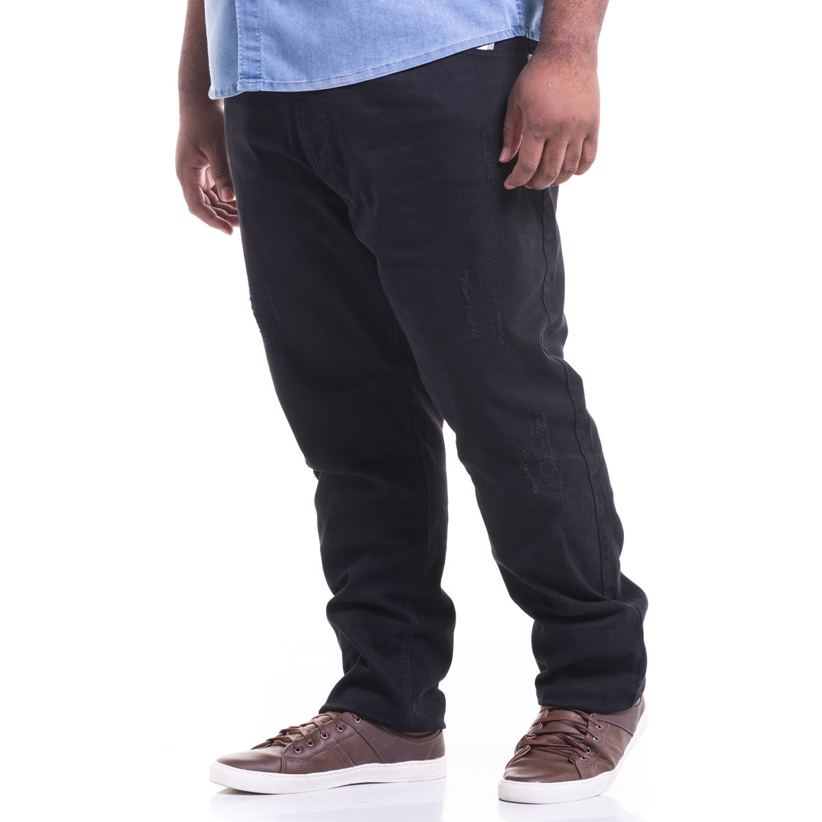 Calça Plus Size Masculina Destroyed Black