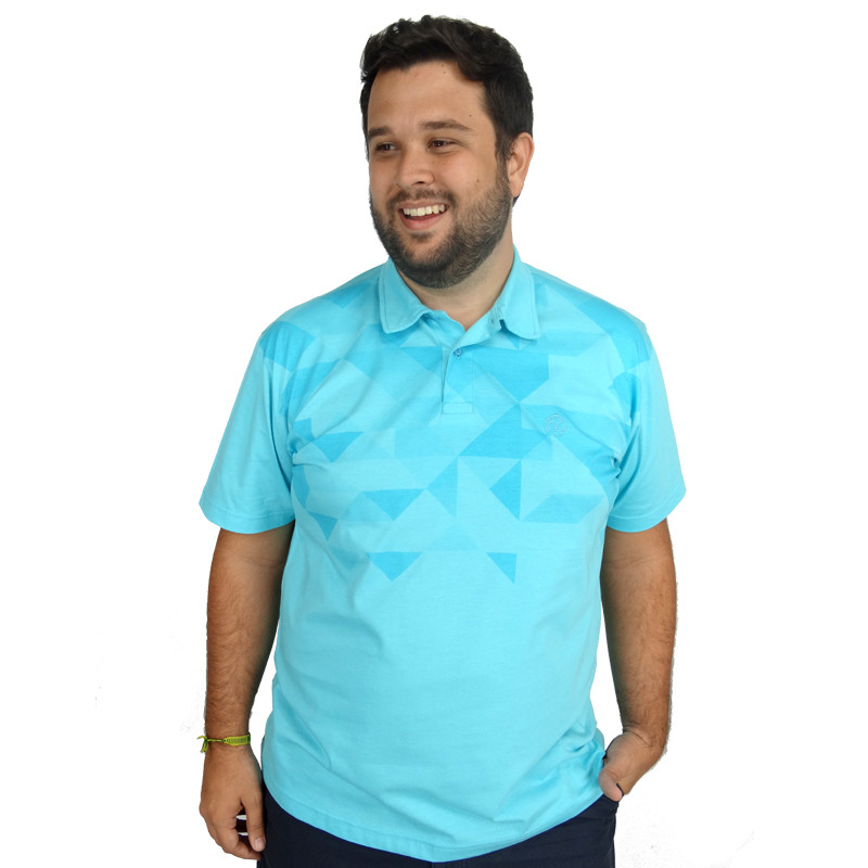 Polo Plus Size Masculina Blue Geometric
