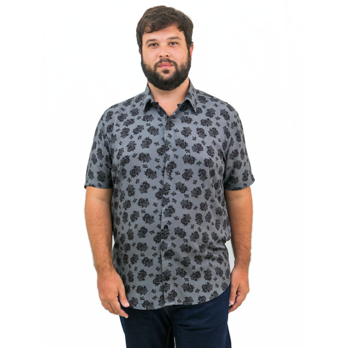 Camisa Plus Size Masculina Black Rose