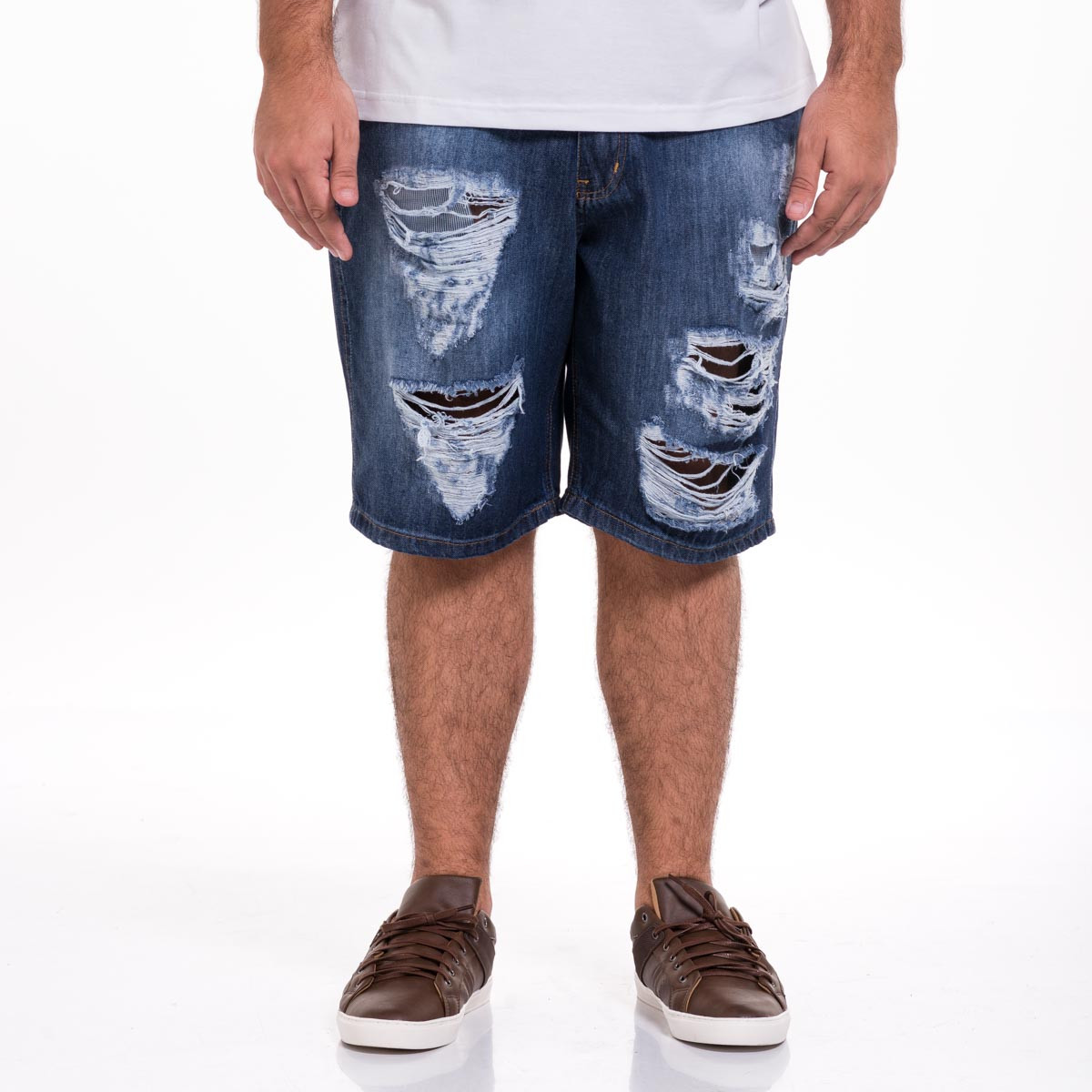 Bermuda Jeans Plus Size Masculina Destroyed