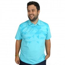 Polo Plus Size Masculina Blue Geometric - Mais Pano