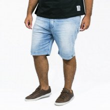 Bermuda Jeans Plus Size Masculina Stoned Blue