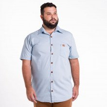 Camisa Jeans Plus Size Masculina Delavê