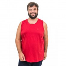 Regata Plus Size Masculina Lisa Bordada Vermelha