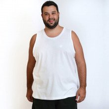 Regata Plus Size Masculina Lisa Bordada Branca