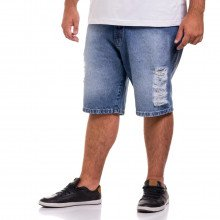 Bermuda Jeans Plus Size Masculina Marmorizado Destroyed