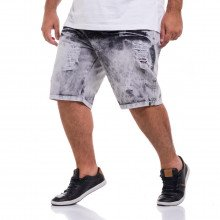 Bermuda Jeans Plus Size Masculina Sky Destroyed Black
