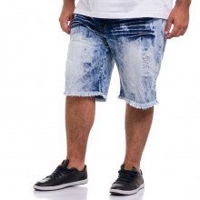 Bermuda Jeans Plus Size Masculina Sky Destroyed Blue