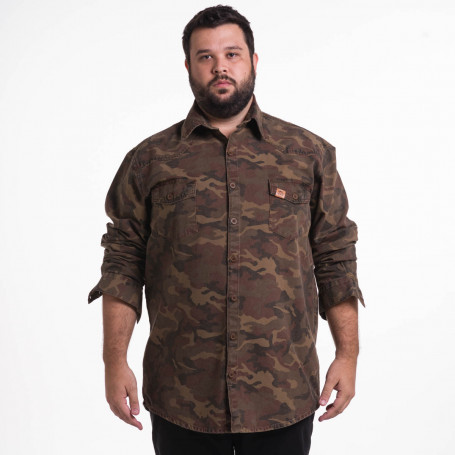 Camisa Plus Size Masculina Camuflada Marrom Strong
