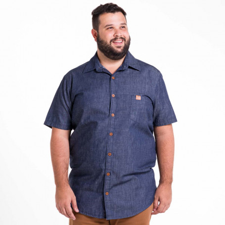 Camisa Jeans Plus Size Masculina Washed