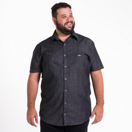Camisa Jeans Plus Size Masculina Washed Black