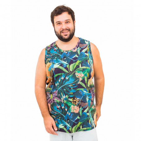 Regata Plus Size Masculina Aquarela