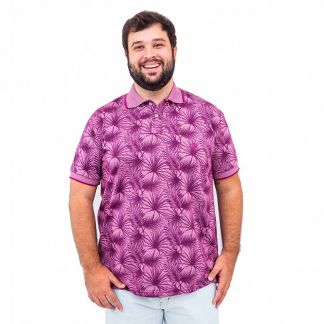 Polo Plus Size Masculina Tree Vinho