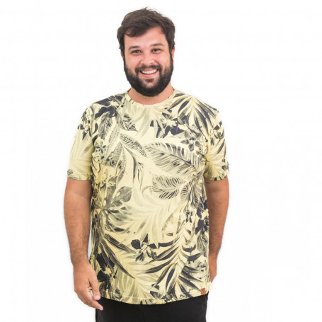 Camiseta Plus Size Masculina Flower Yellow