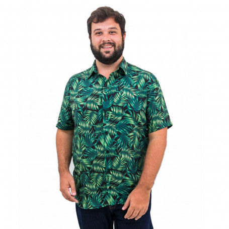 Camisa Plus Size Masculina Green Leaves