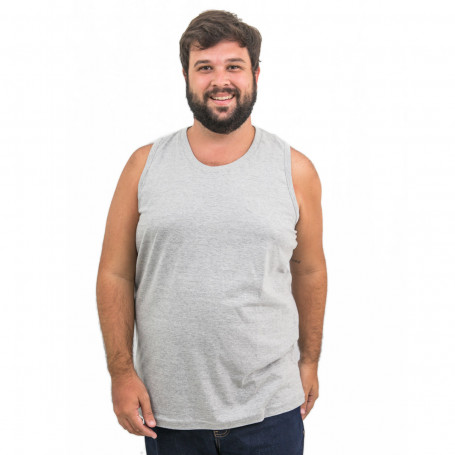 Regata Plus Size Masculina Lisa Bordada Mescla