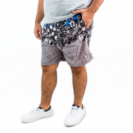 Short Plus Size Masculino Black Flower