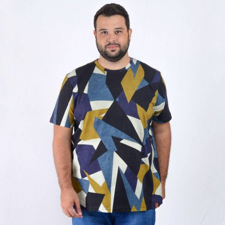 Camiseta Plus Size Masculina Abstract Marine