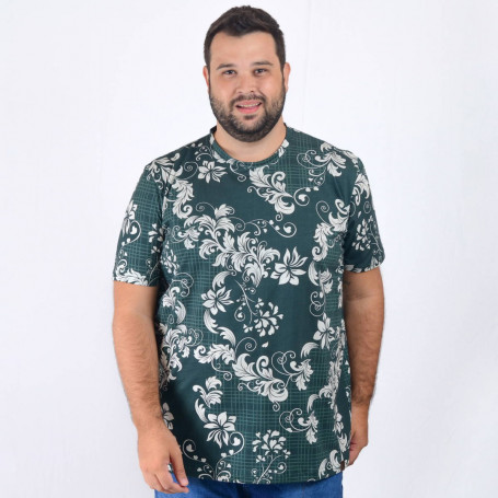 Camiseta Plus Size Masculina White Flower