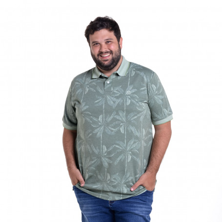Polo Plus Size Masculina Flores Green