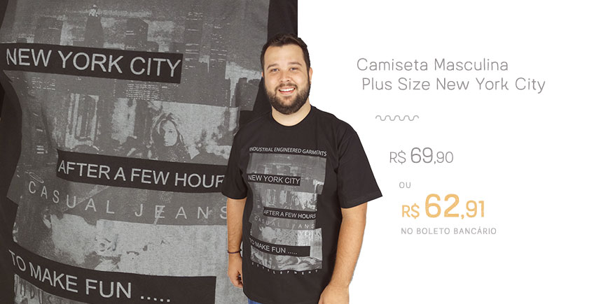 Camiseta Masculina Plus Size New York City